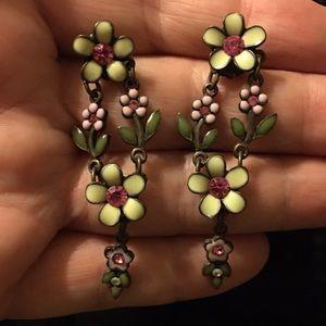 Vintage Avon enamel crystal floral dangle earrings